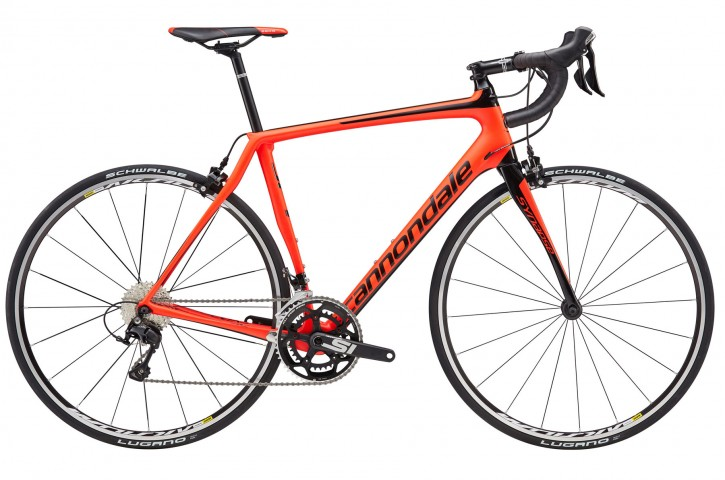 2016 Synapse Carbon 105 5 Mens Acid Red w/ Jet Black, Matte