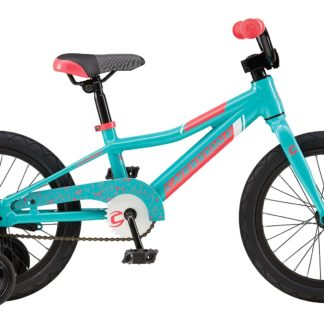 2016 Cannondale Trail 16 Single-Speed Girls Turquoise w/ Acid Strawberry, Magnesium White, Gloss