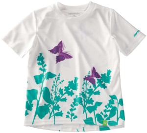 2014 Cannondale Girls Tech Tee White/Teal/Purple Butterflies