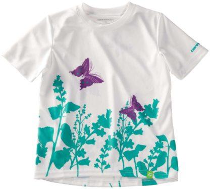 2014 Cannondale Girls Tech Tee White/Teal/Purple Butterflies