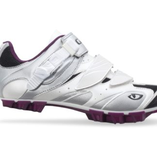 2014 Giro Manta White/ Silver/ Plum SPD Spinning Compatible Women's Mountain Shoe