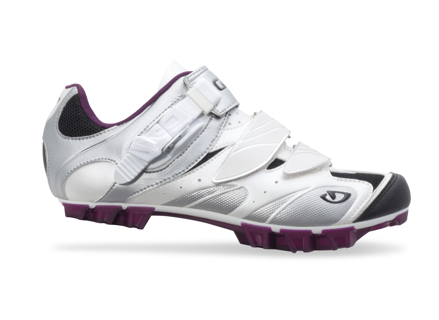 2014 Giro Manta White/ Silver/ Plum SPD Spinning Compatible Women's Mountain Shoe