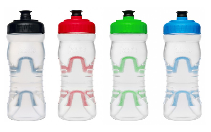 Fabric Cageless Water Bottles, colors, left to right, Black, Red, Lime Green, Bright Blue