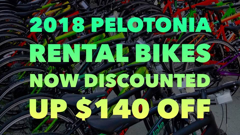 2018 PELOTONIA RENTAL BIKES NOW DISCOUNTED UP TO $140 OFF