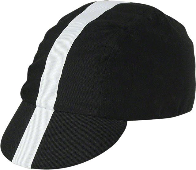 Pace Sportswear Classic Cycling Cap Black w/ White Tape
