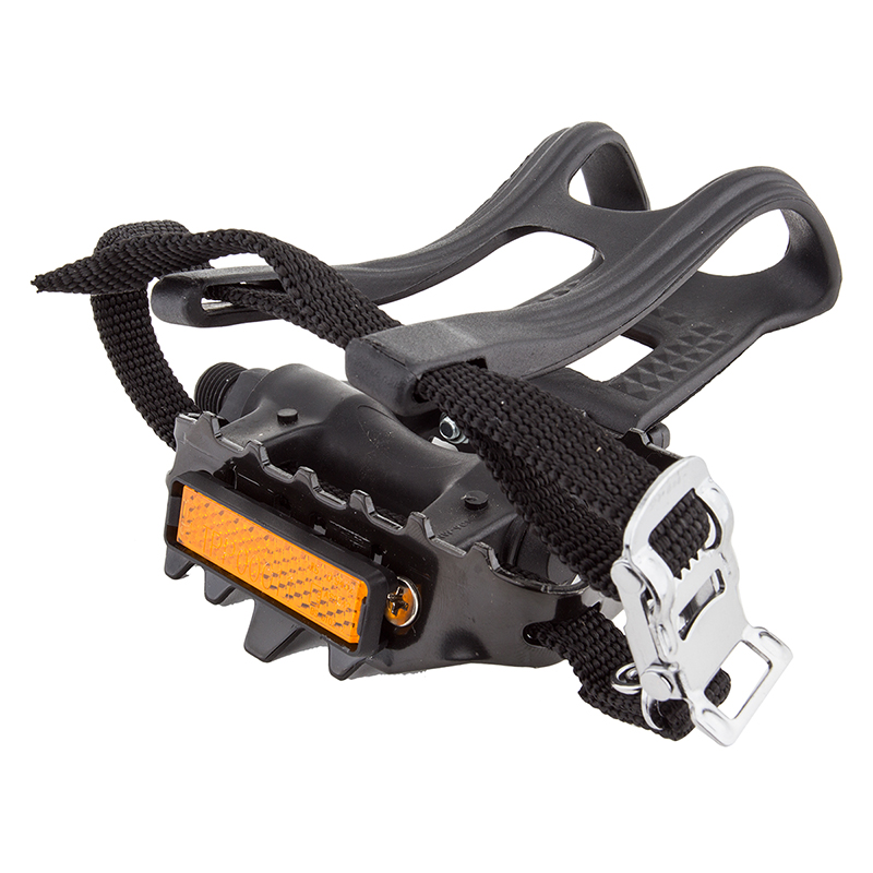 """Sunlite Low Profile Sport ATB Pedals 9/16"""" w/ Toe Clips and Straps For Three Piece Cranks"""